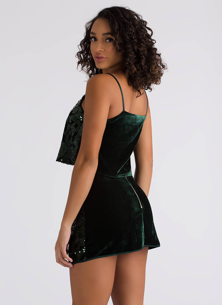 Push Play Sequined Top And Skirt Set DKGREEN
