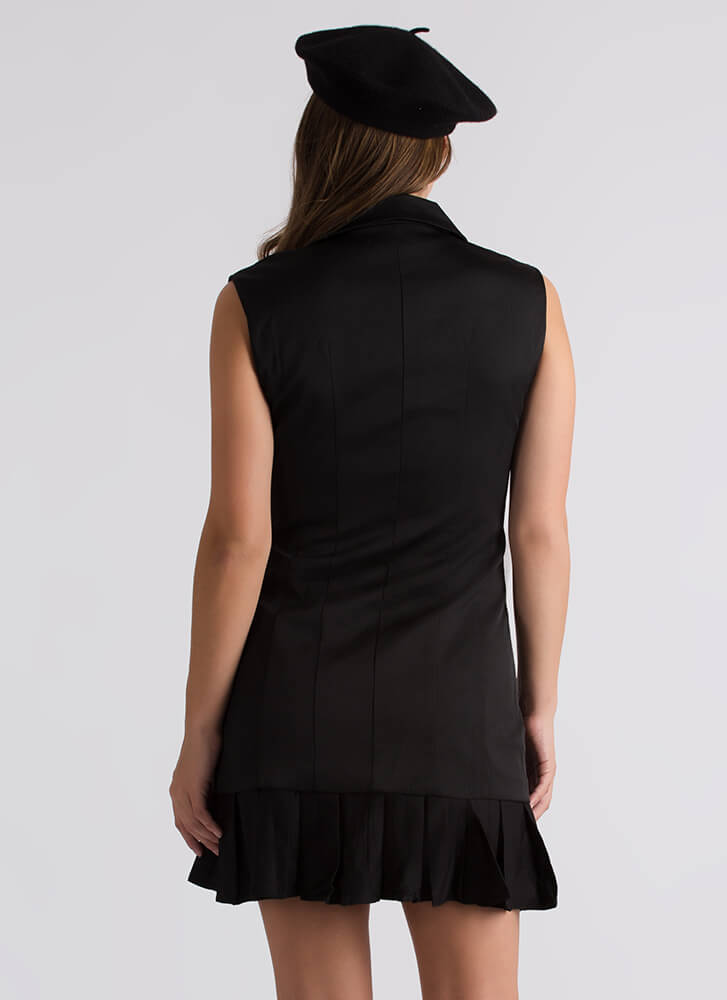 It Suits You Pleated Blazer Dress BLACK