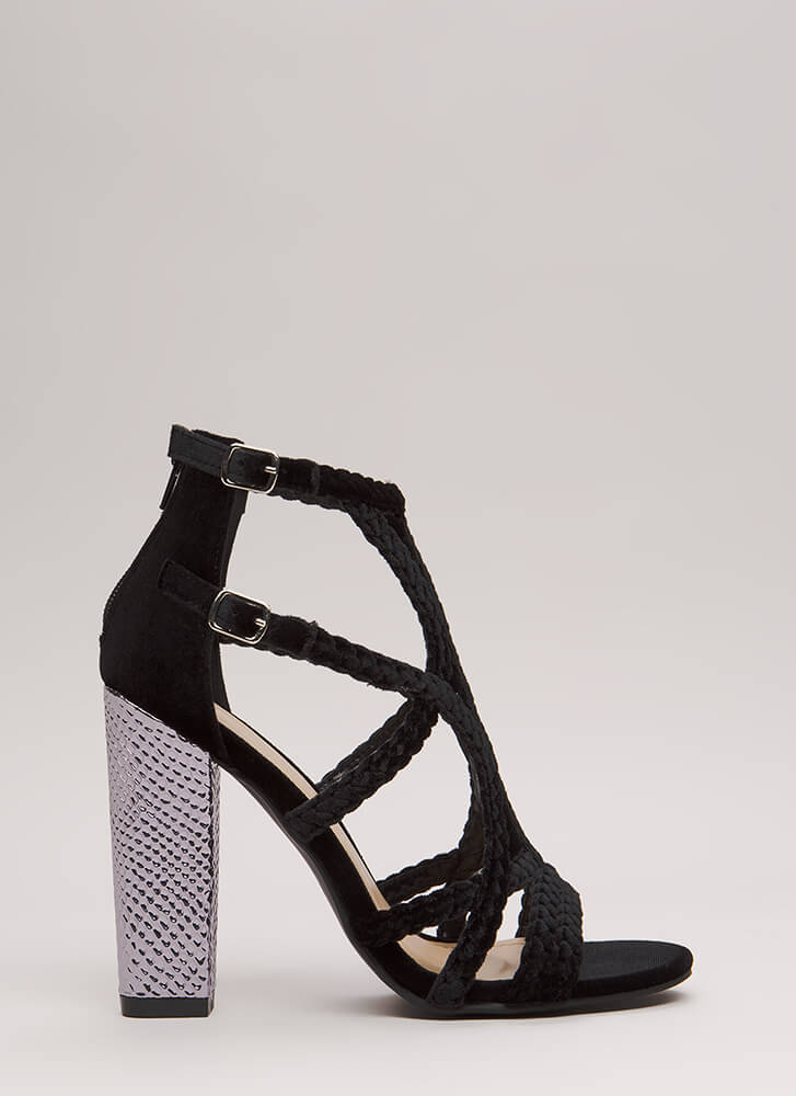 Braided Beauty Caged Chunky Heels BLACK