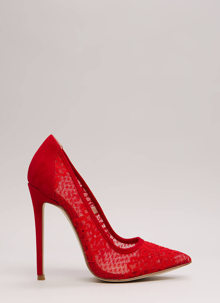 Floral Aptitude Pointy Lace Pumps RED