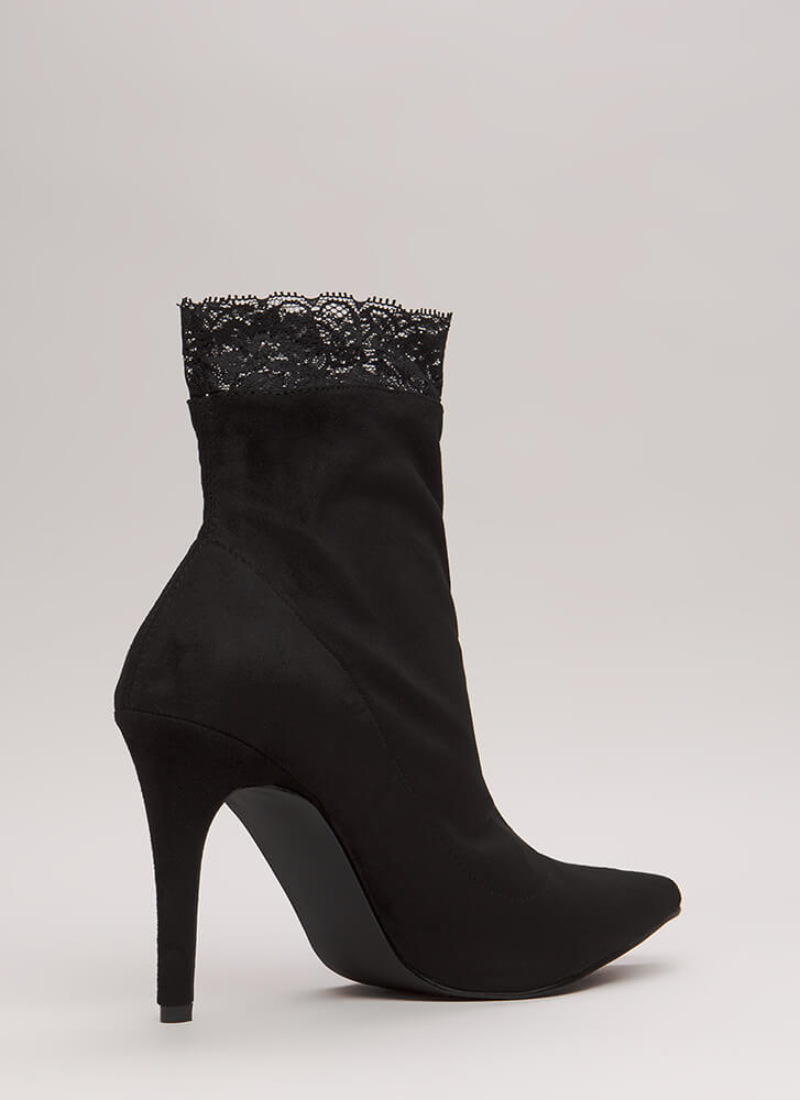 Sock And Roll Lace Trim Booties BLACK