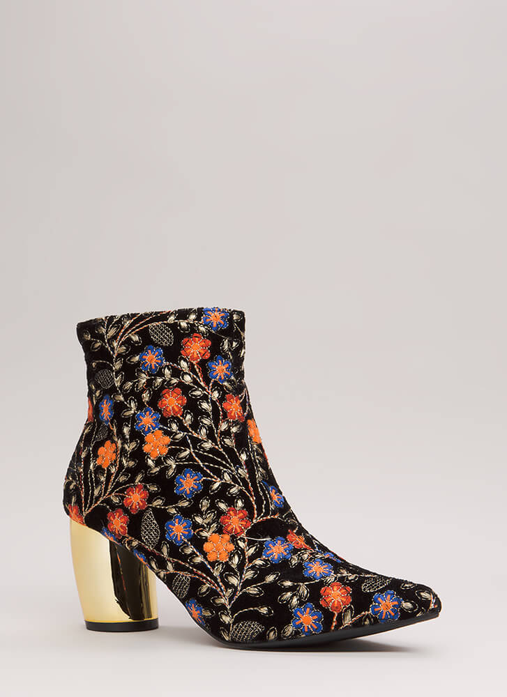 My Curves Embroidered Floral Booties BLACK