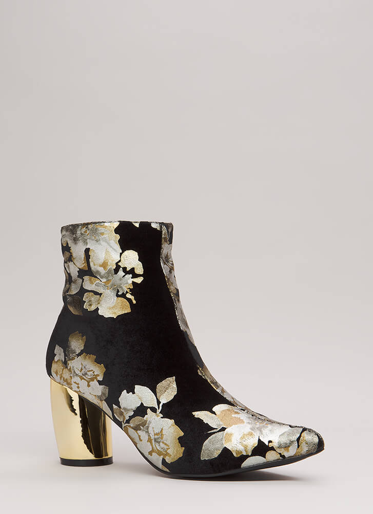 My Curves Velvet Foiled Floral Booties GOLD (Final Sale)