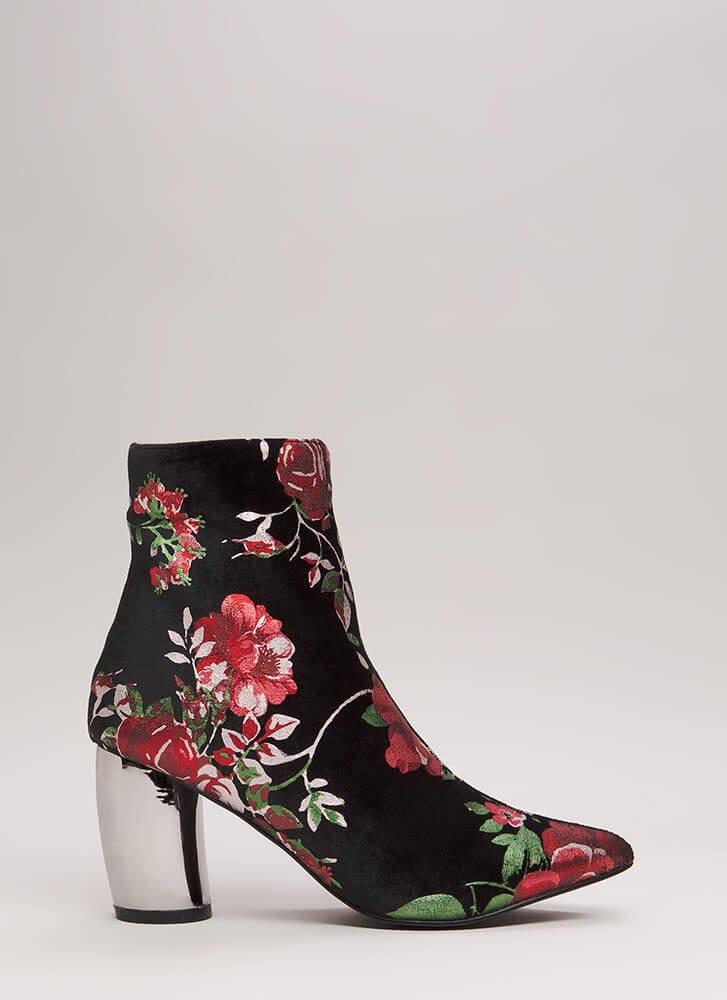 My Curves Velvet Foiled Floral Booties RED (Final Sale)