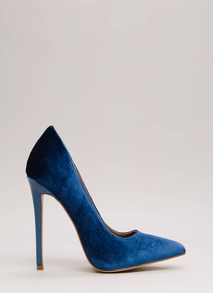 Simply Stunning Pointy Velvet Pumps BLUE