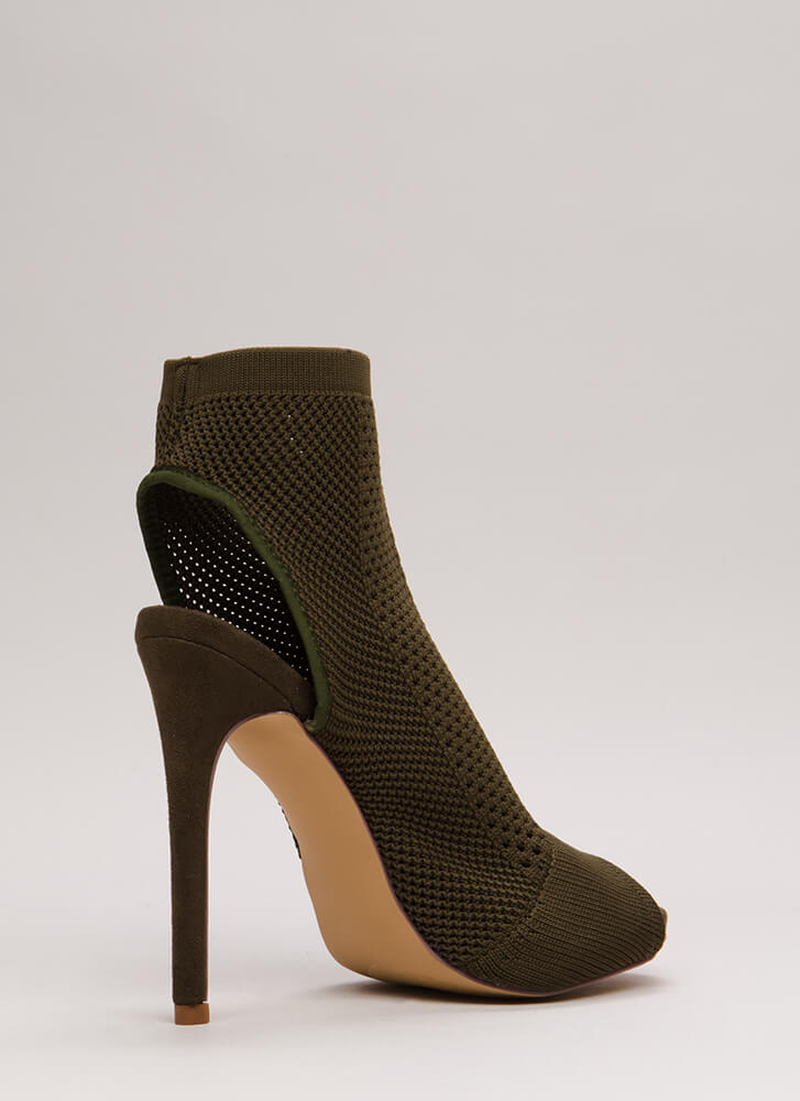 Knit Me Again Cut-Out Sock Booties OLIVE