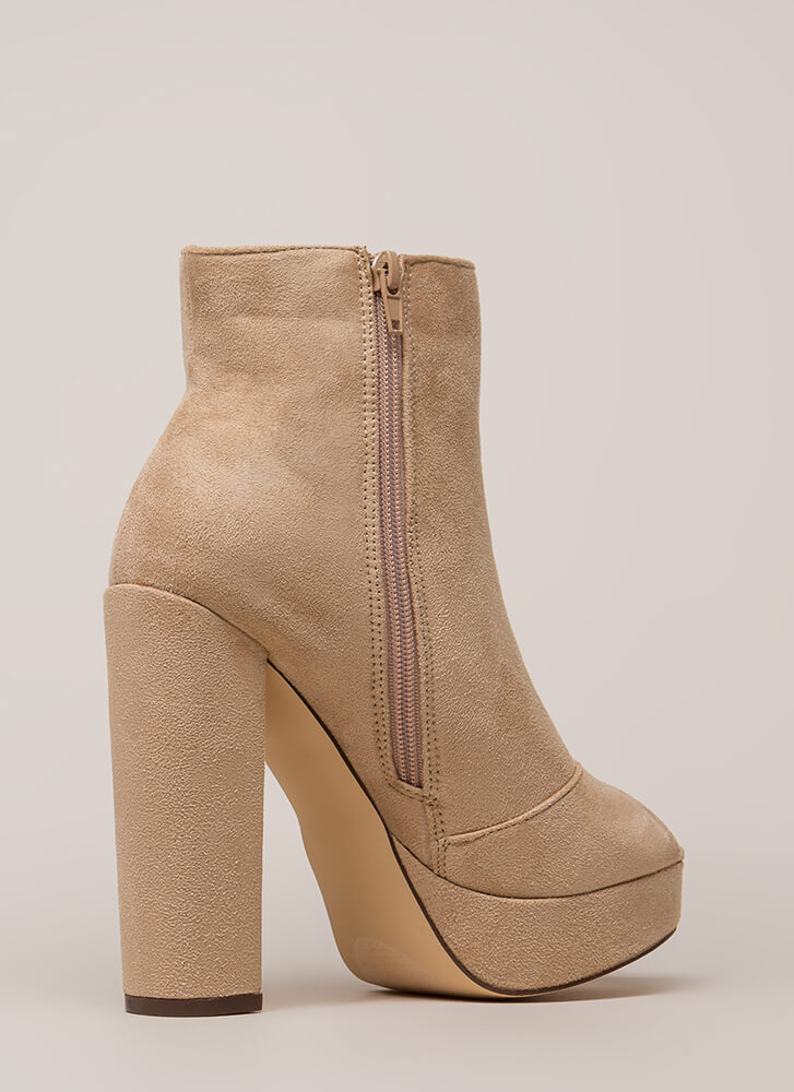 Make A Peep-Toe Chunky Platform Booties NUDE (You Saved $31)