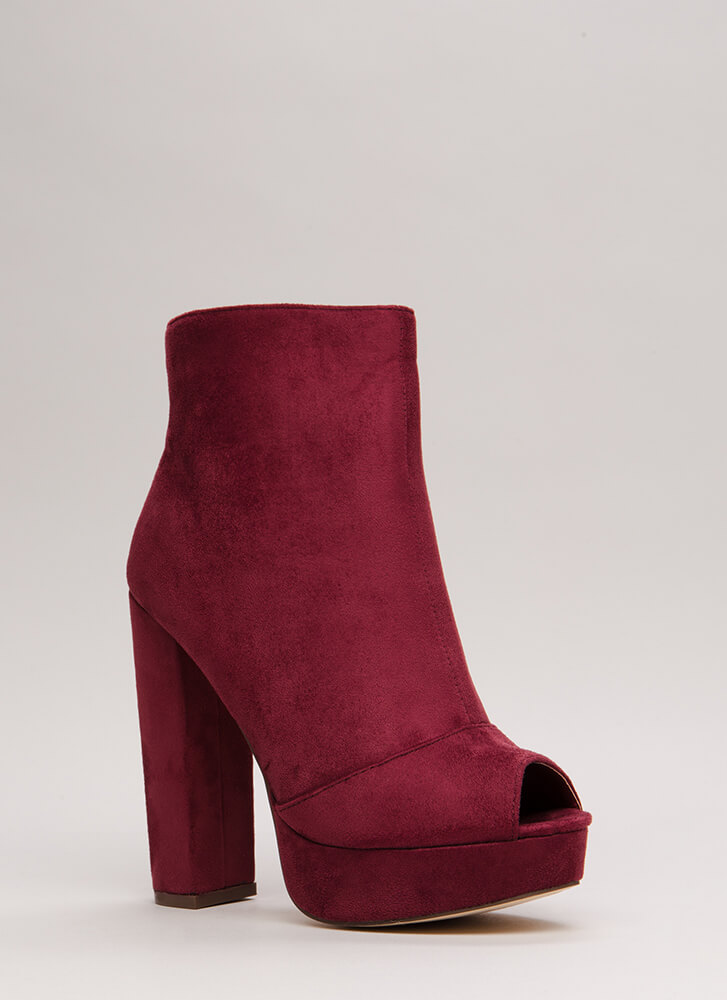 Make A Peep-Toe Chunky Platform Booties WINE (You Saved $31)