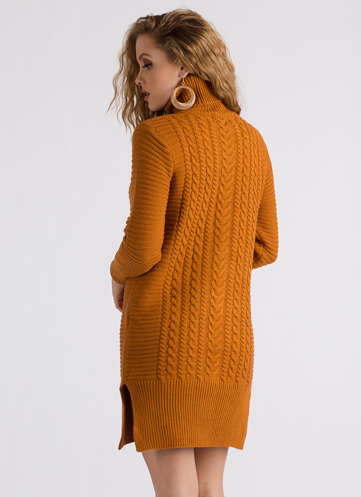 Premium Cable Knit Turtleneck Dress RUST