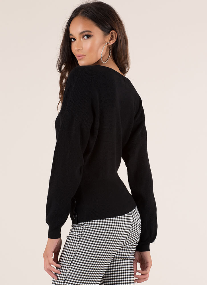 Better Buttoned Wrapped Sweater Top BLACK