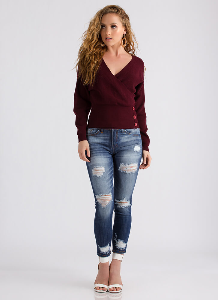 Better Buttoned Wrapped Sweater Top BURGUNDY
