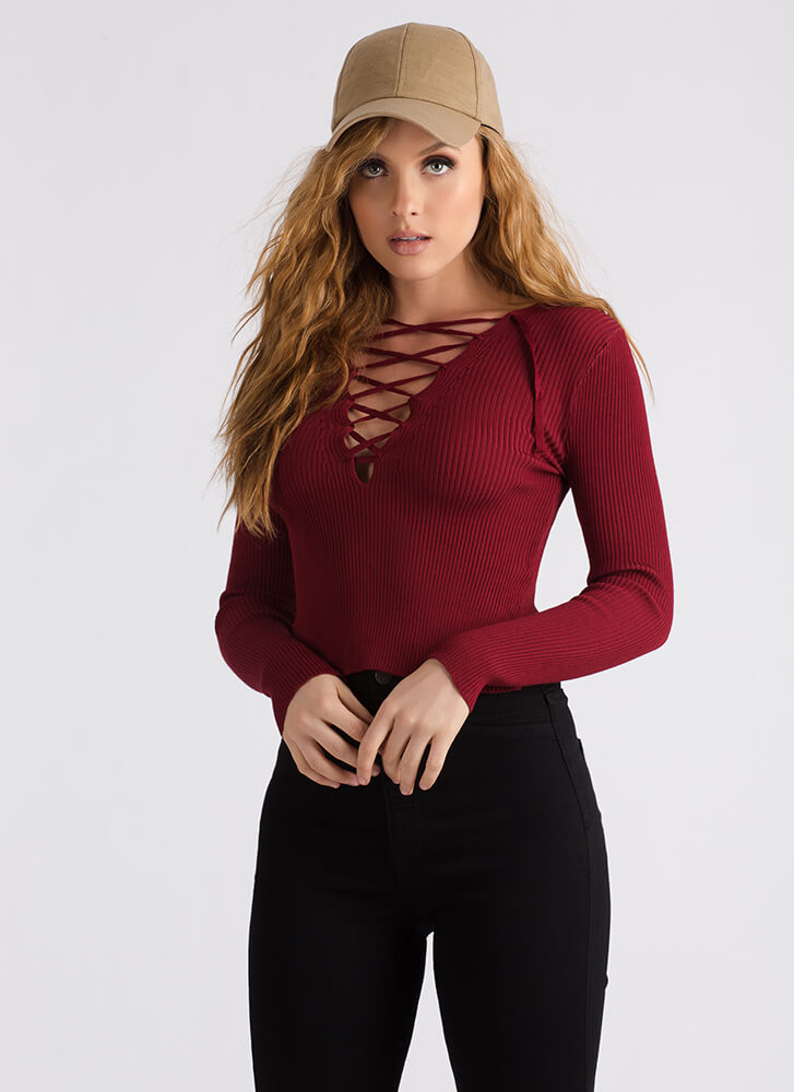 Just What You Need Ribbed Lace-Up Top BURGUNDY