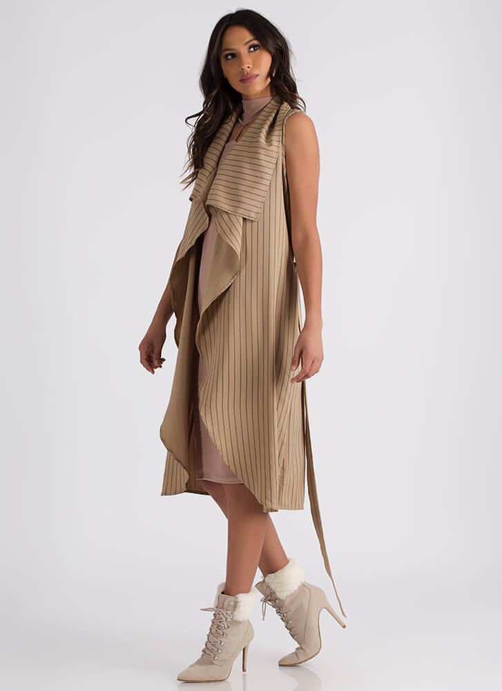 Free Flow Sleeveless Pinstriped Duster TAUPE