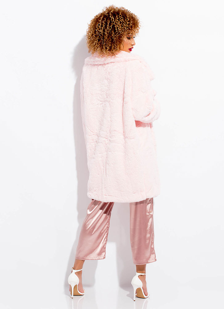Living The Life Plush Faux Fur Coat PINK