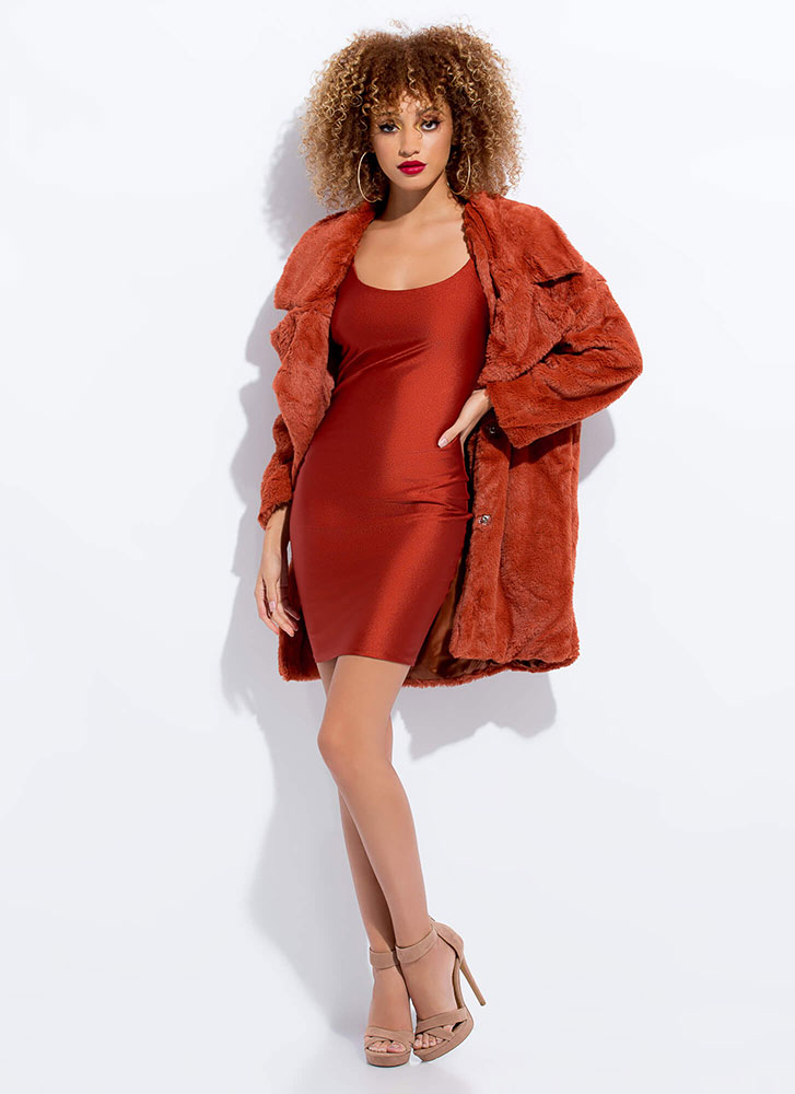 Living The Life Plush Faux Fur Coat RUST