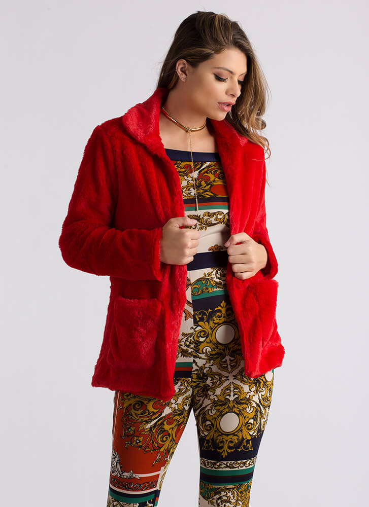 Soft Fur Faux red Coat Touch Collared 1Uqwr41