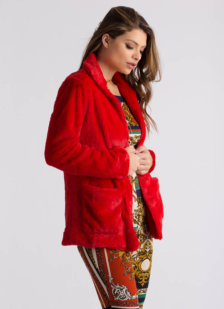 Soft Touch Collared Faux Fur Coat RED