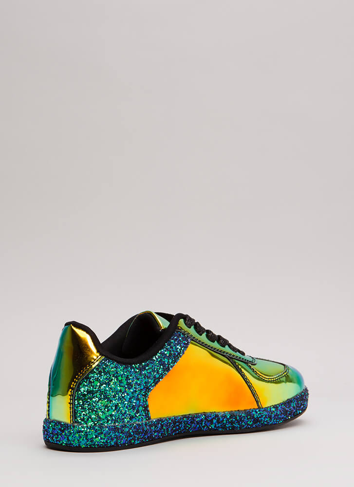 Go For The Glitter Faux Patent Sneakers BLACK
