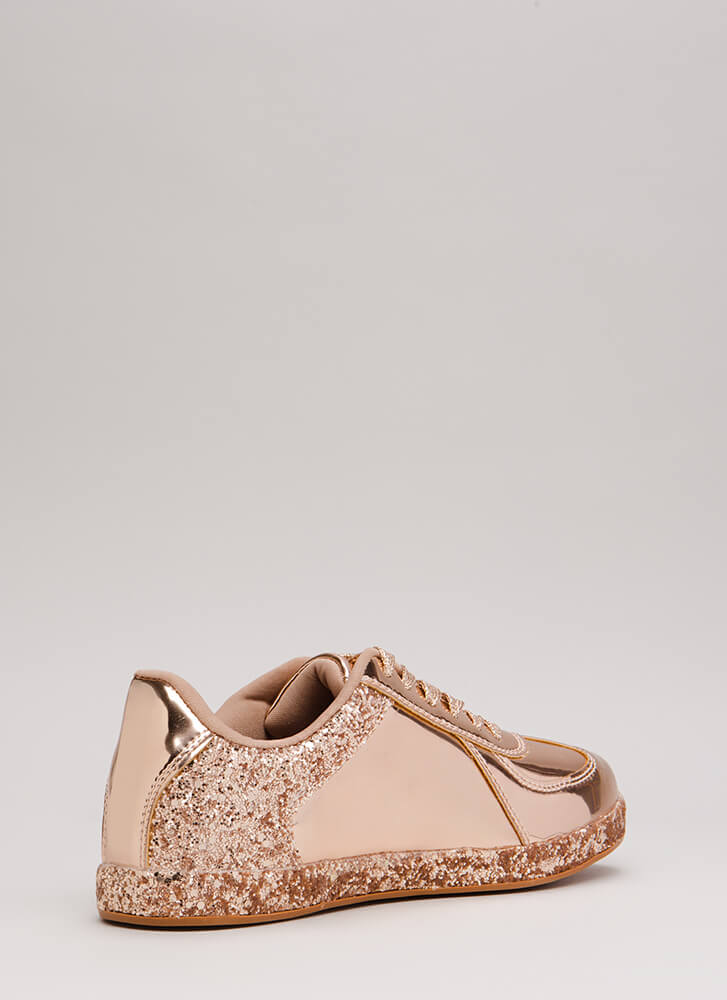 Go For The Glitter Faux Patent Sneakers ROSEGOLD
