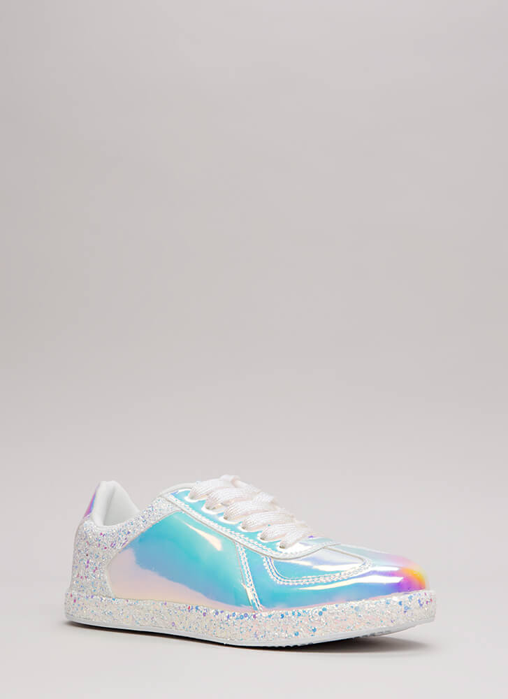 Go For The Glitter Faux Patent Sneakers WHITE
