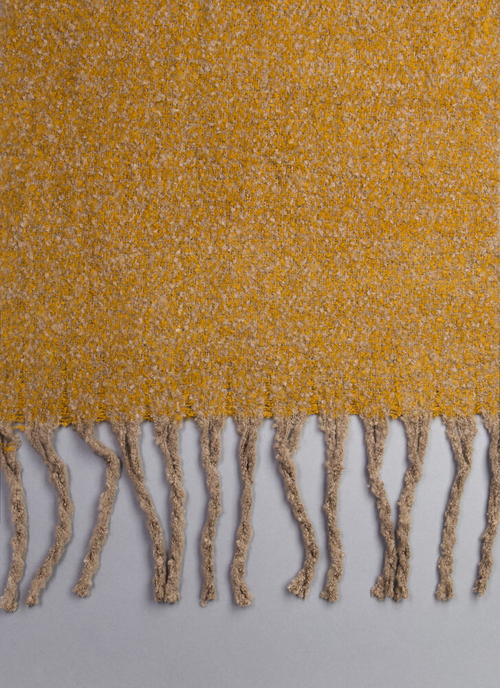 New Addition Marled Knit Fringe Scarf MUSTARD