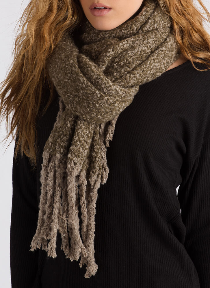 New Addition Marled Knit Fringe Scarf OLIVE