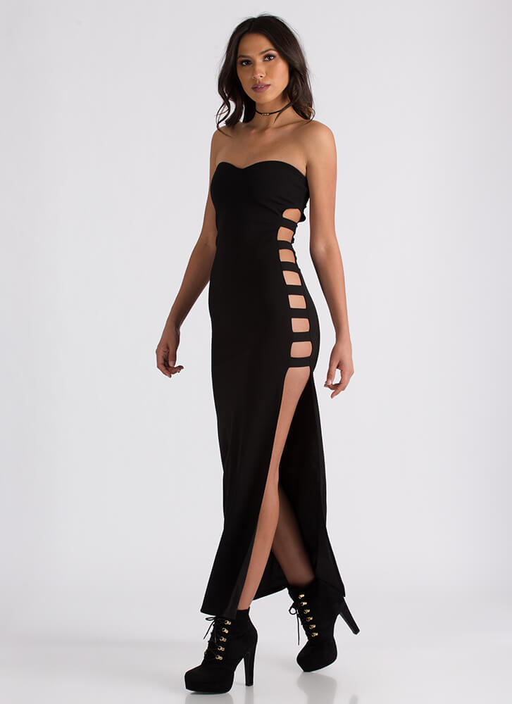 Rung Number Strapless Cut-Out Maxi BLACK