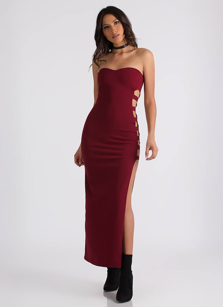 Rung Number Strapless Cut-Out Maxi BURGUNDY