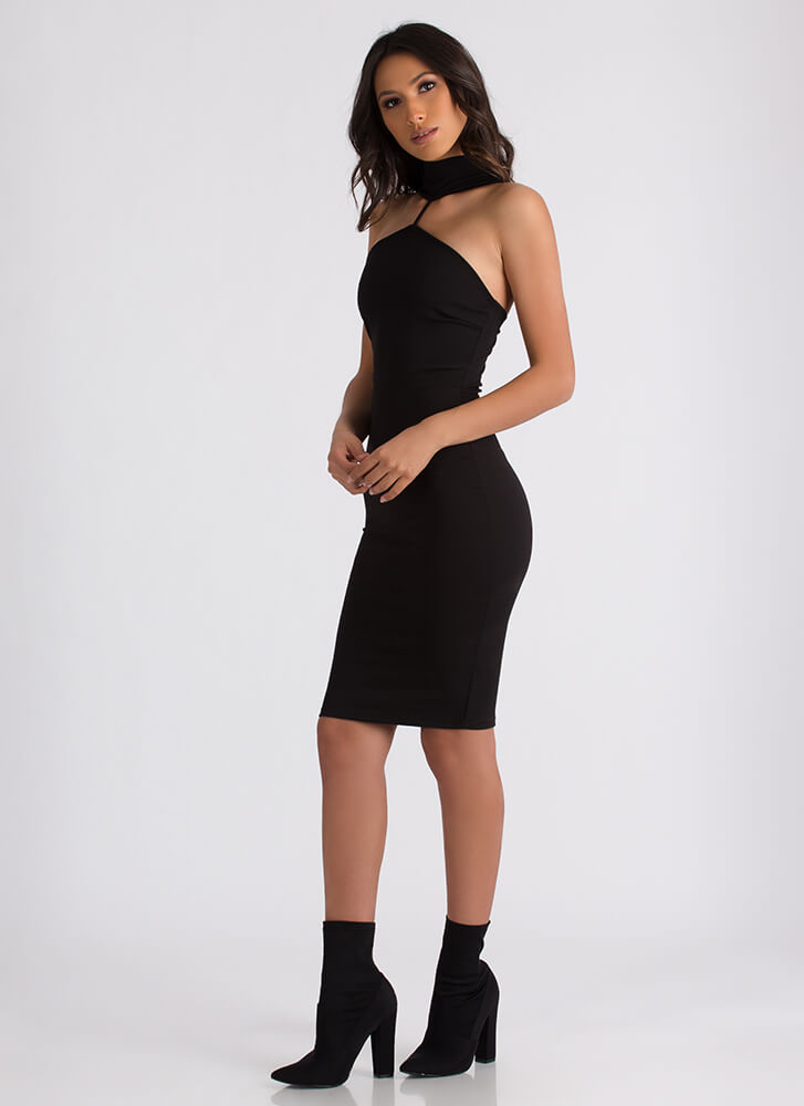 High Society Mockneck Midi Dress BLACK