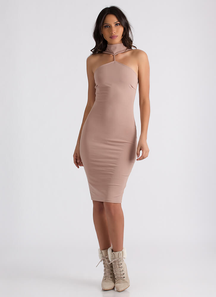 High Society Mockneck Midi Dress MOCHA