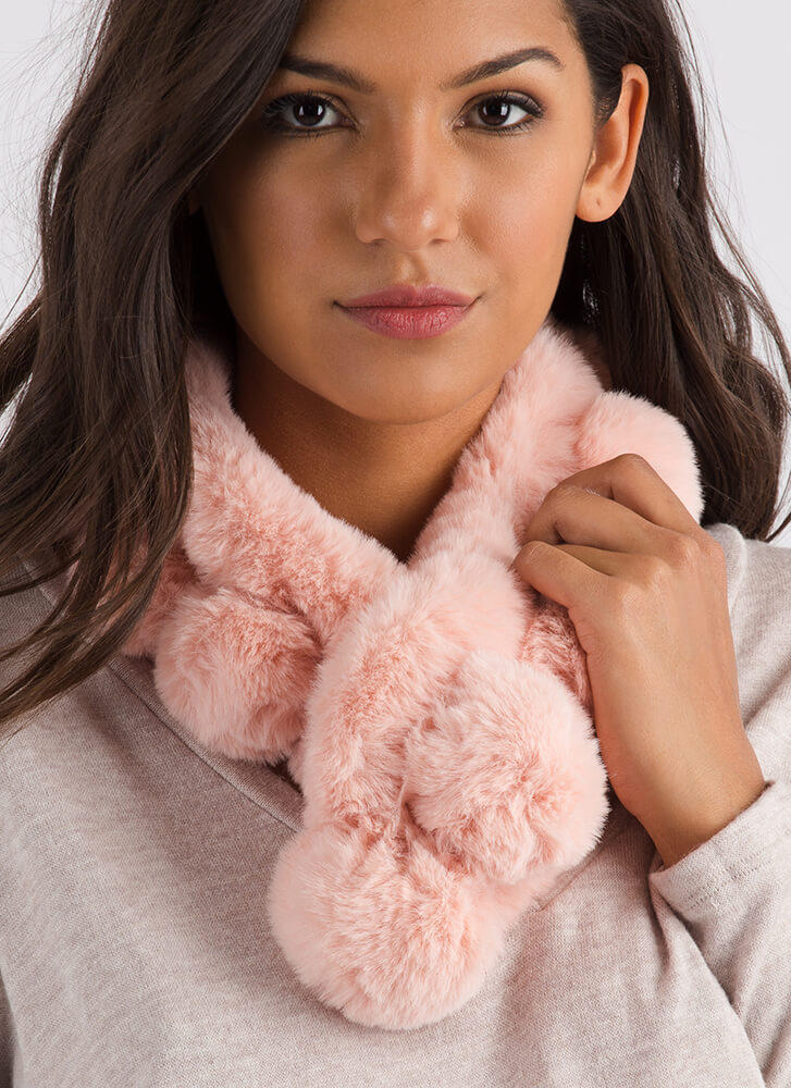 Peas In A Pod Faux Fur Scarf PINK