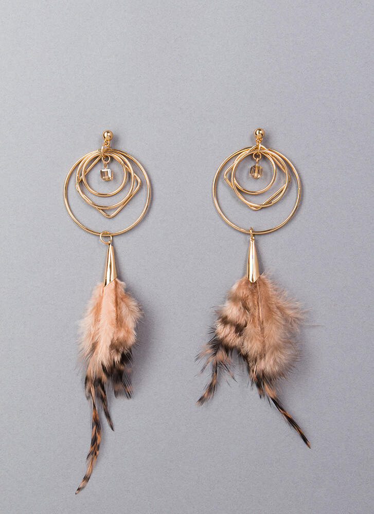 Jump Thru Hoops Faux Feather Earrings GOLD
