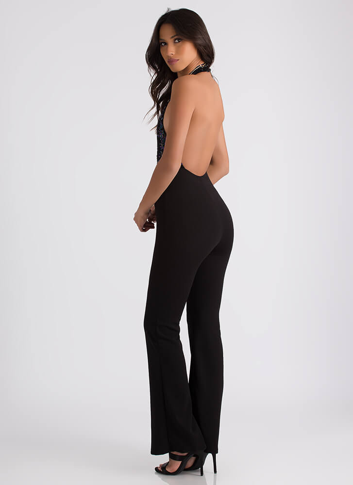 Party On Top Sequined Halter Jumpsuit BLACK