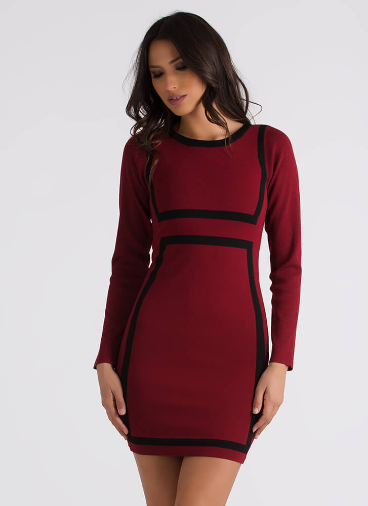 You've Been Framed Two-Toned Knit Dress BURGUNDY