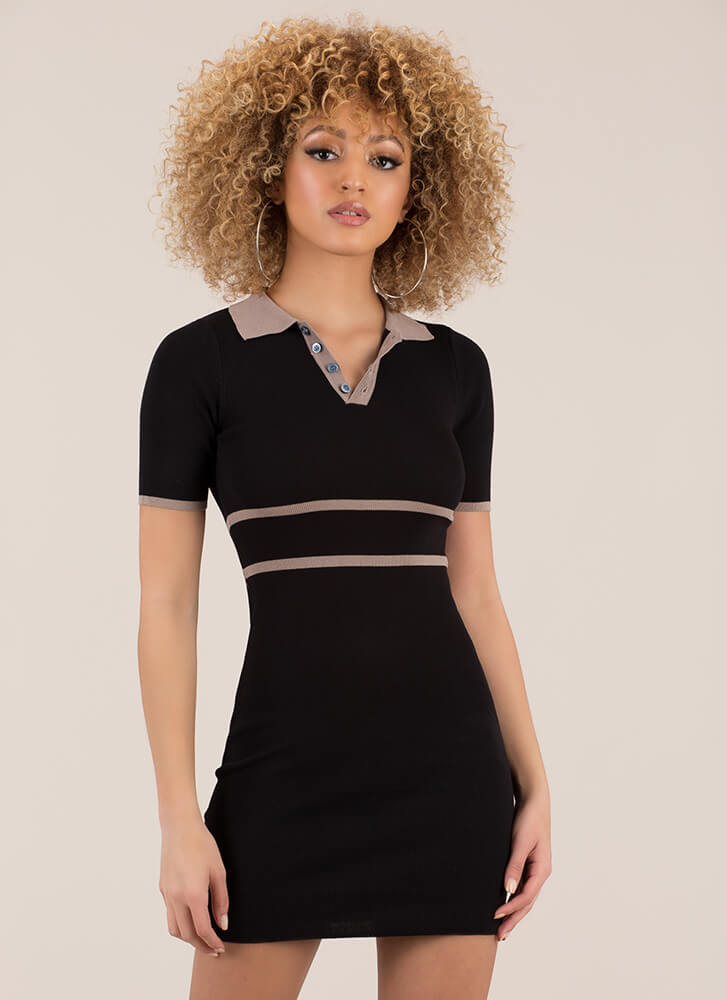 The Lineup Knit Collared Minidress BLACK