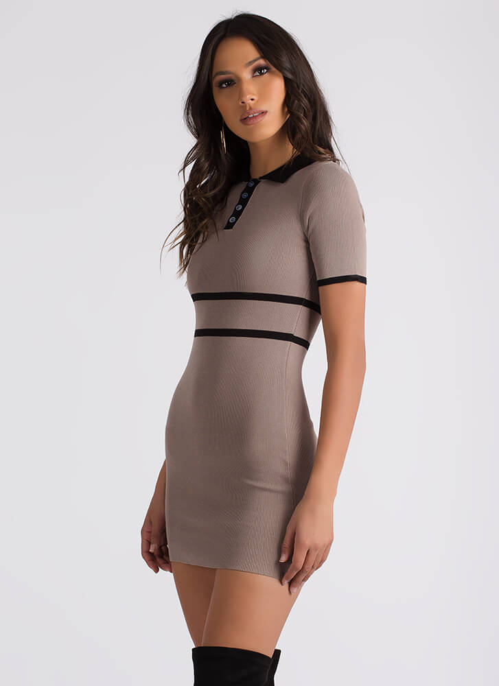 The Lineup Knit Collared Minidress MOCHA