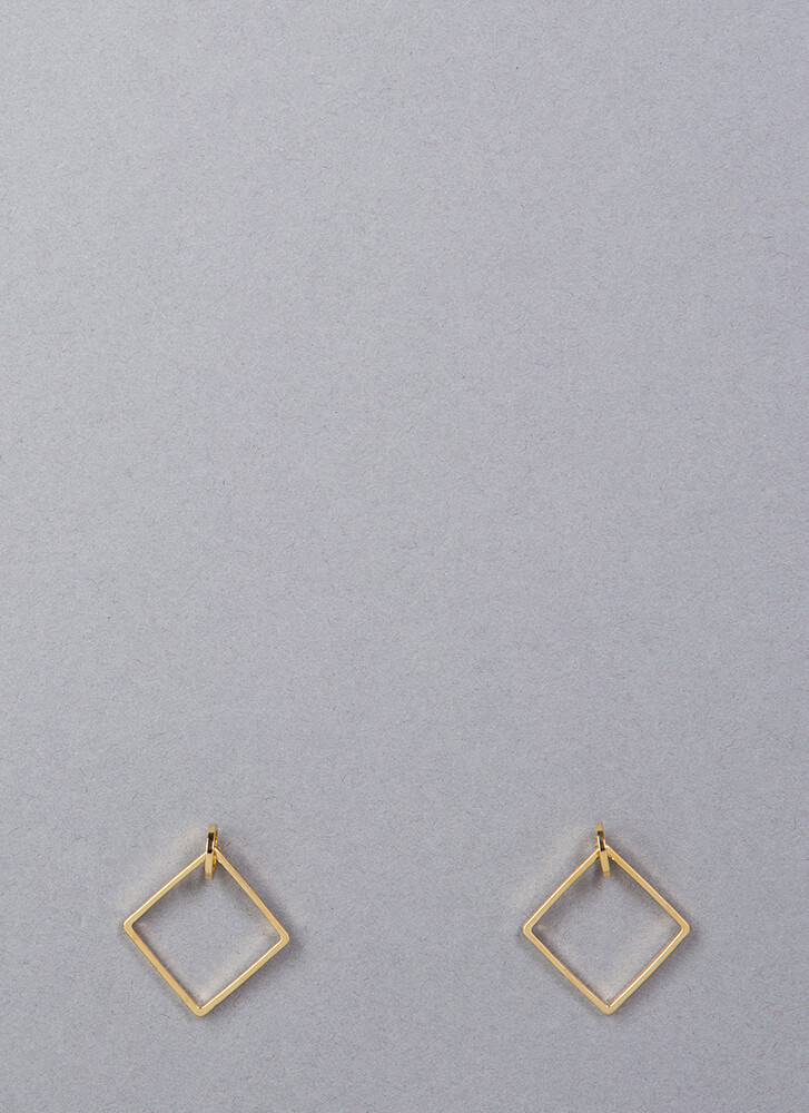 Small Diamonds Square Hoop Earrings GOLD (Final Sale)