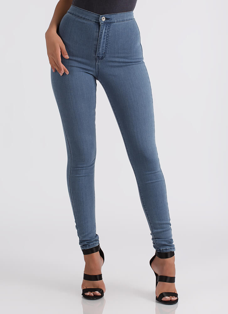 All Curves High-Waisted Skinny Jeans LTBLUE
