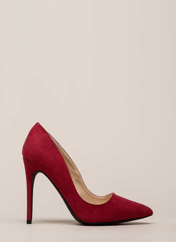 Point Blank Range Faux Suede Pumps CRIMSON (You Saved $15)