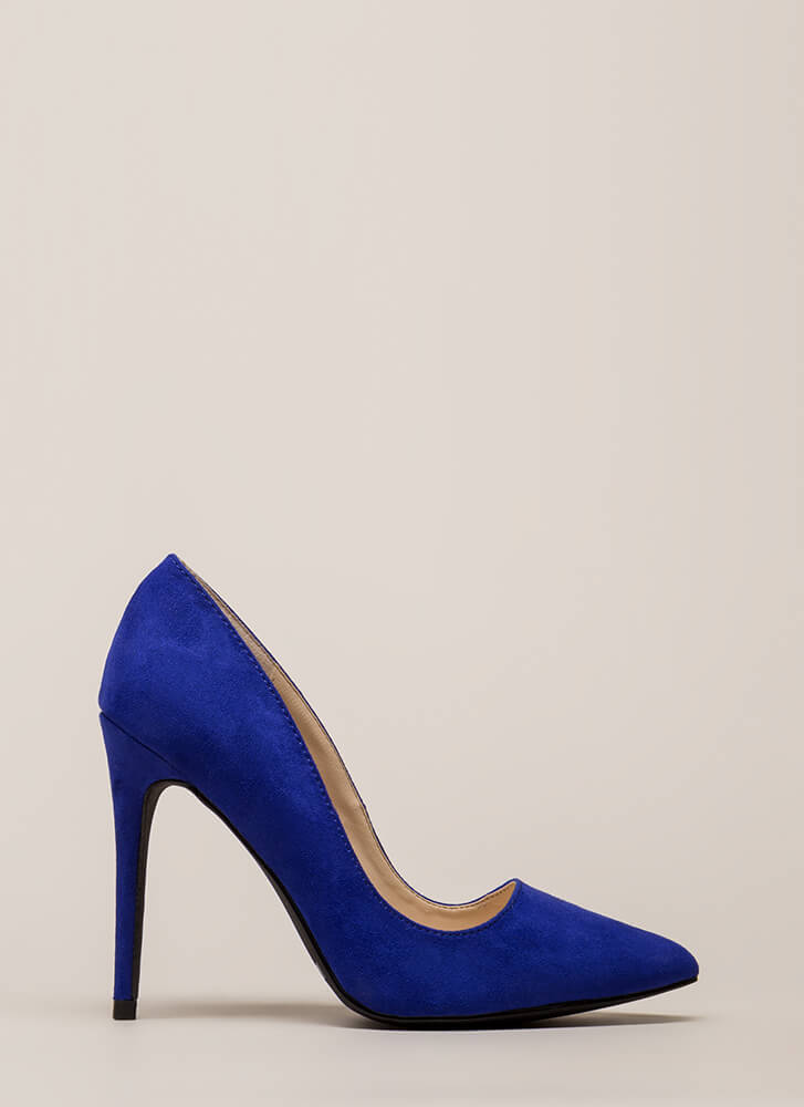 Point Blank Range Faux Suede Pumps ELECTRICBLUE (You Saved $15)
