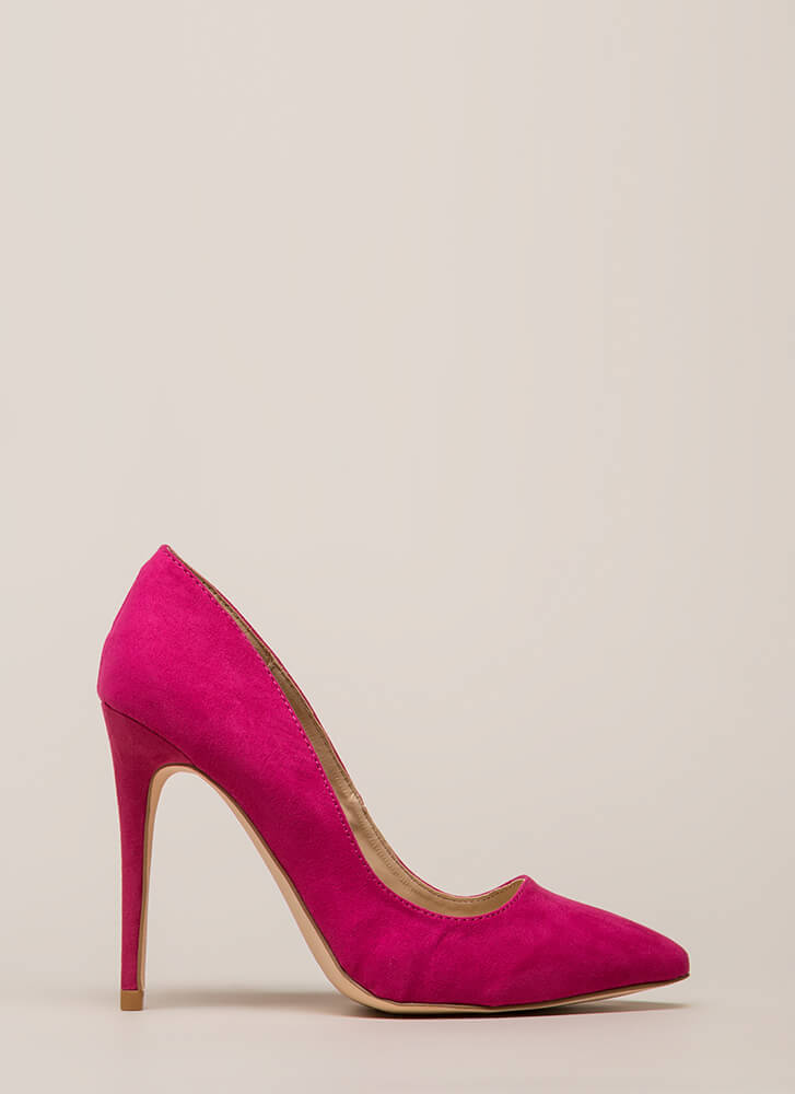 Point Blank Range Faux Suede Pumps FUCHSIA (You Saved $15)