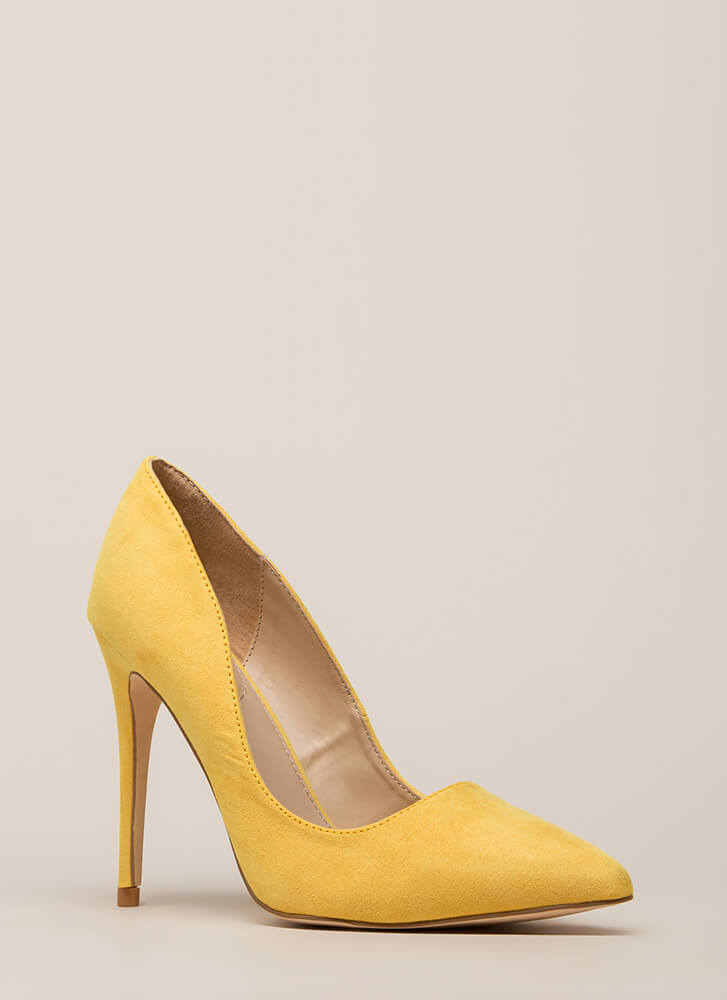 Point Blank Range Faux Suede Pumps YELLOW (You Saved $15)