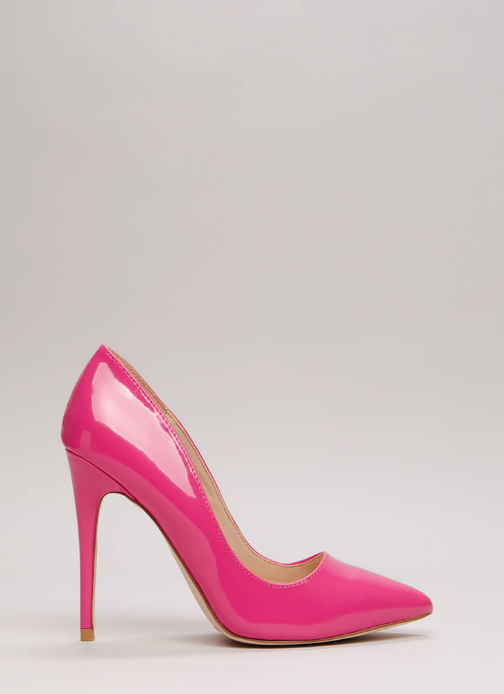 Point Blank Range Faux Patent Pumps FUCHSIA