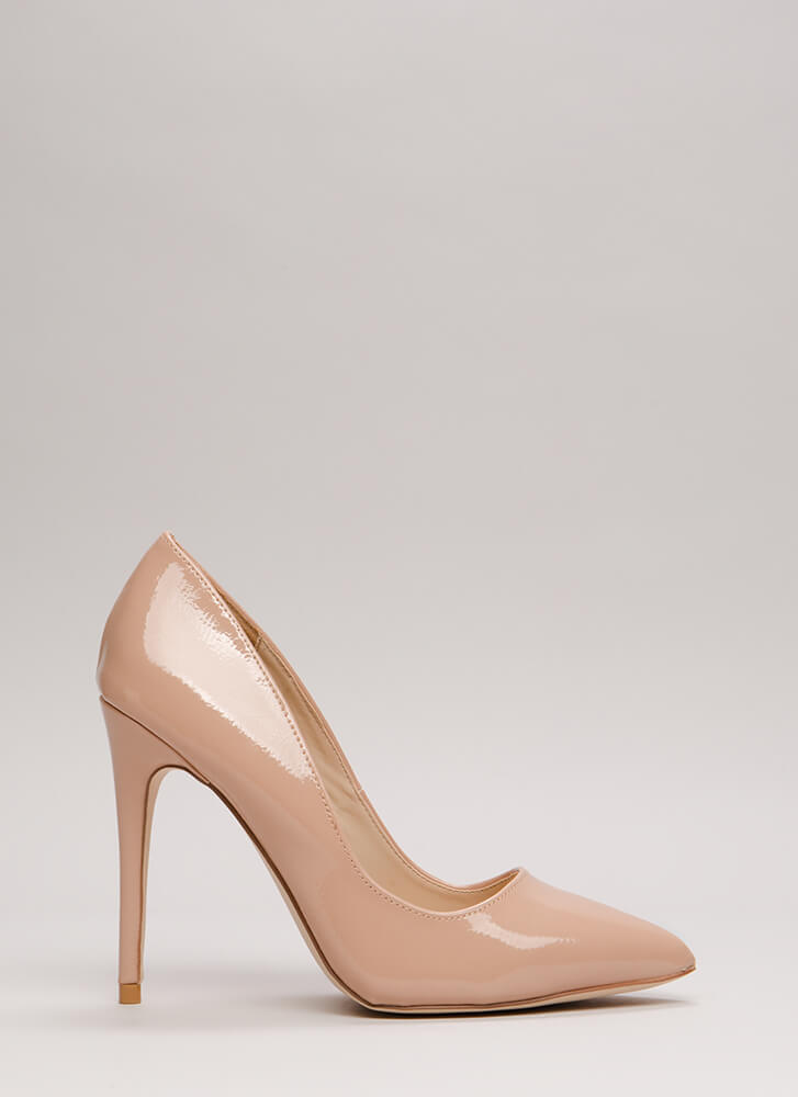 Point Blank Range Faux Patent Pumps NUDE