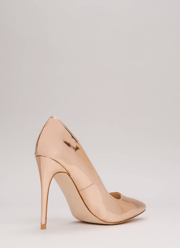 Point Blank Range Faux Patent Pumps ROSEGOLD
