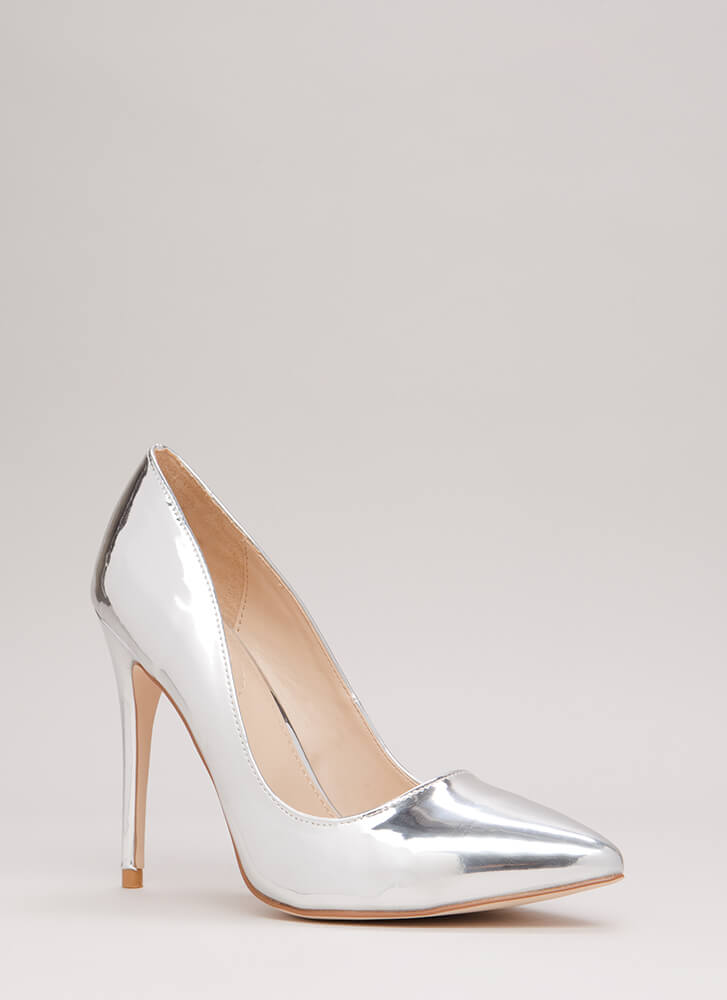 Point Blank Range Faux Patent Pumps SILVER