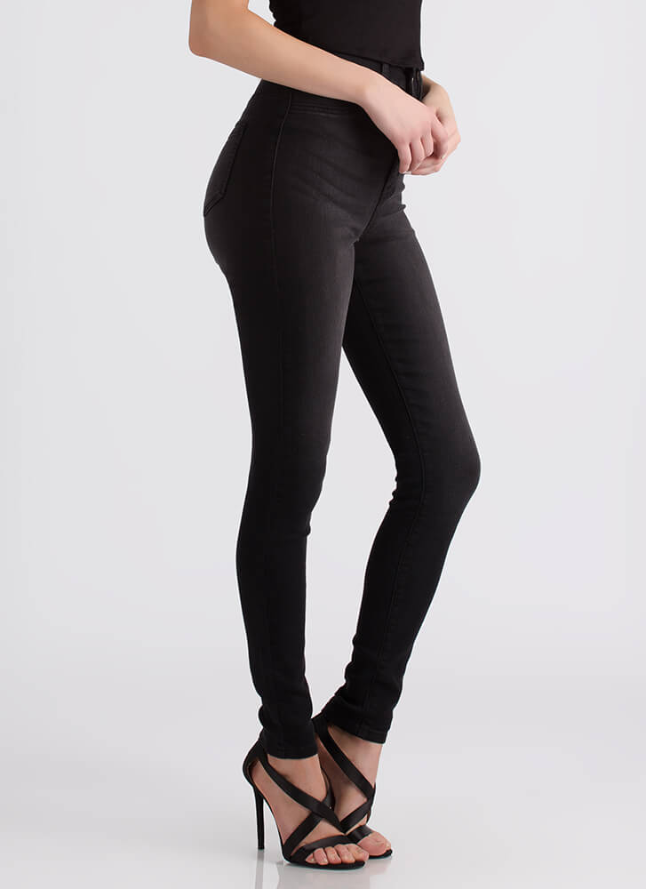 All Legs High-Waisted Skinny Jeans BLACK