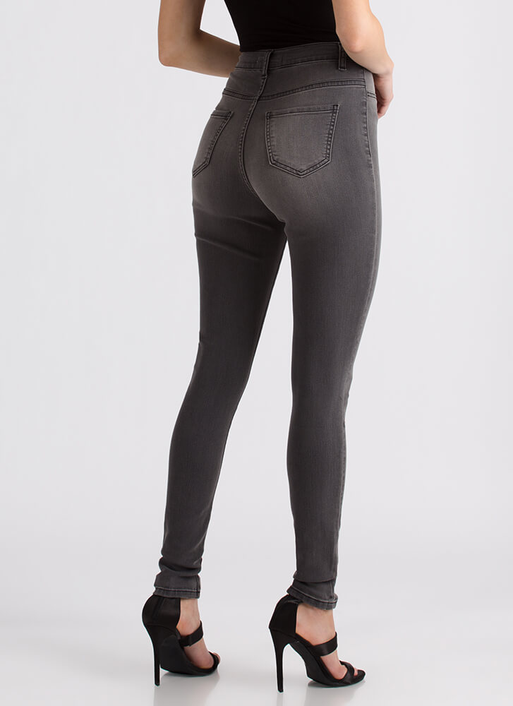All Legs High-Waisted Skinny Jeans GREY