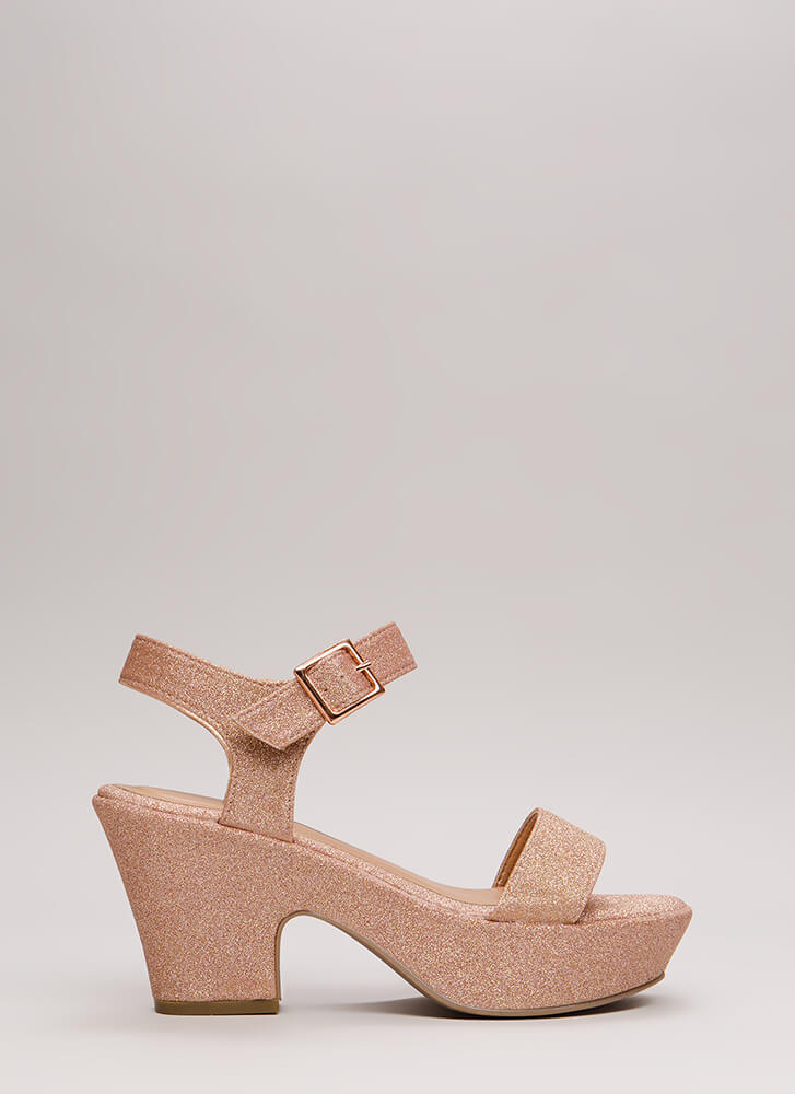 Chunky For The Win Glittery Platforms ROSEGOLD