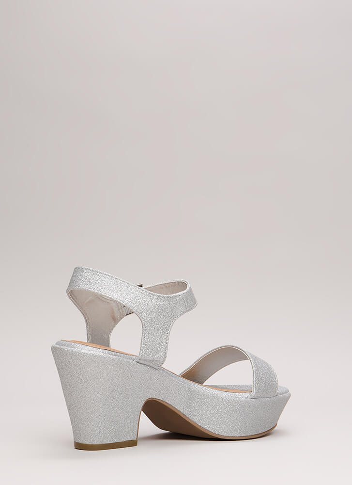 Chunky For The Win Glittery Platforms SILVER